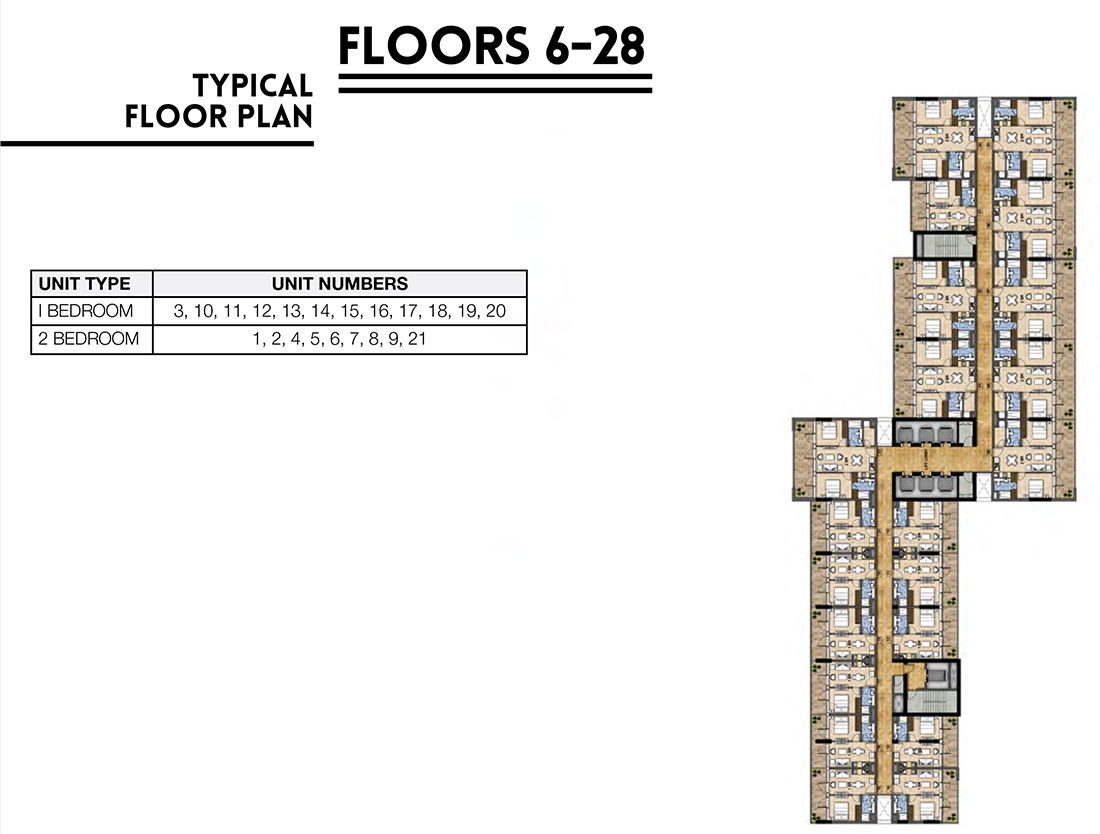 1 & 2 Bedroom Typical 6th-28th Floor Plan